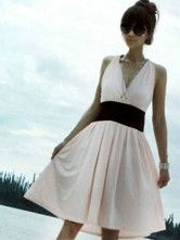 Sexy V-Neck Wrapped Waistline Backless Cotton Blend Womens Summer Dress