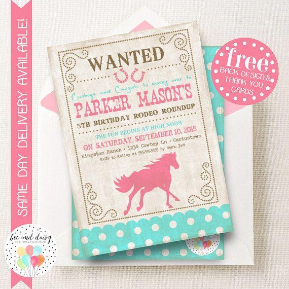 Vintage Cowgirl Horse Invitation GirlsBirthday BirthdayParty BeeAndDaisy Invite Etsy