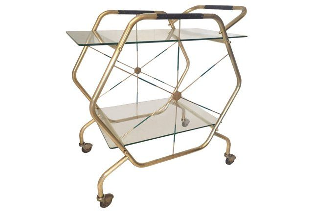 Gio Ponti Attributed Brass Serving Cart