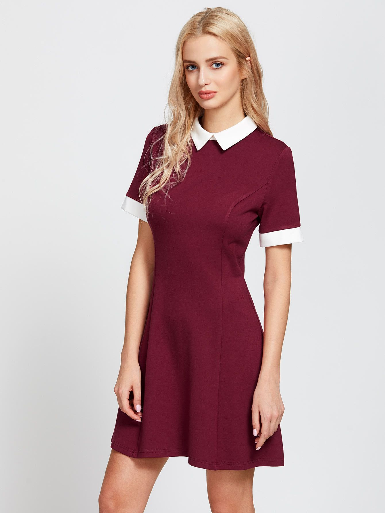 20926eb361 Burgundy Contrast Short Sleeve Skater Shirt Dress
