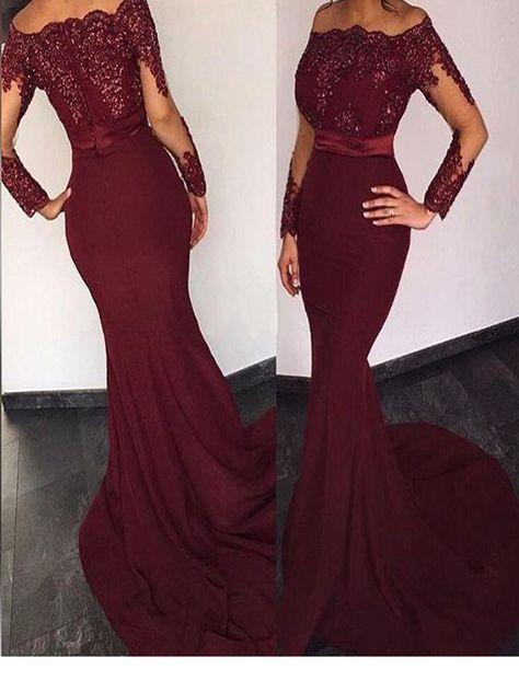 Long Custom Prom Dress,Burgundy Prom dress, Long sleeve