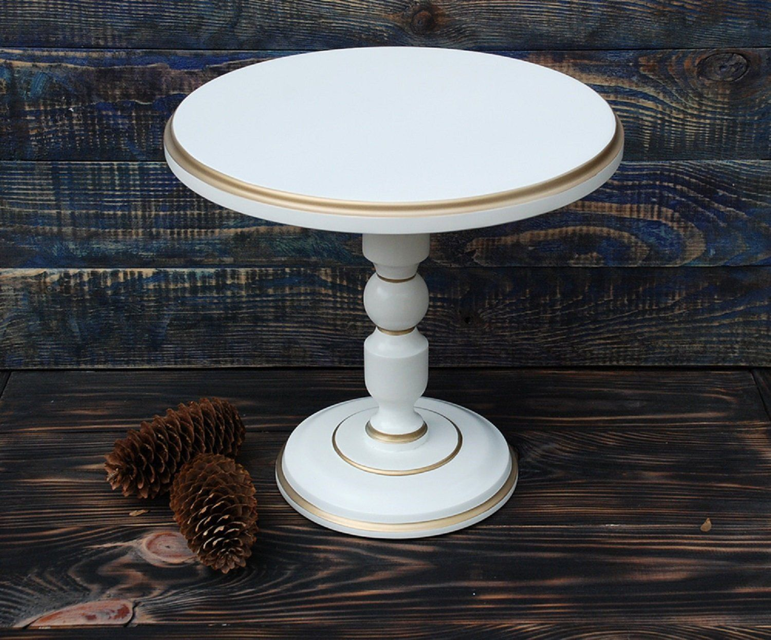 Ready To Ship 12 Inches Custom Cake Stand Royal Wooden Etsy In 2020 Wooden Cake Stands Wooden Cake Pedestal Wedding Cake Stand White