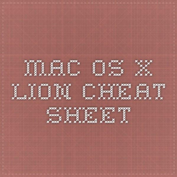 Mac OS X lion - Cheat Sheet Apple Pinterest Mac os, Lions and Macs