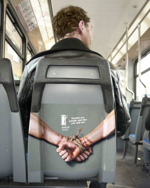 """""""Victims are people just like you and me."""" ACAT campaign against torture  Agency: Advico Y&R, Zurich, Switzerland"""