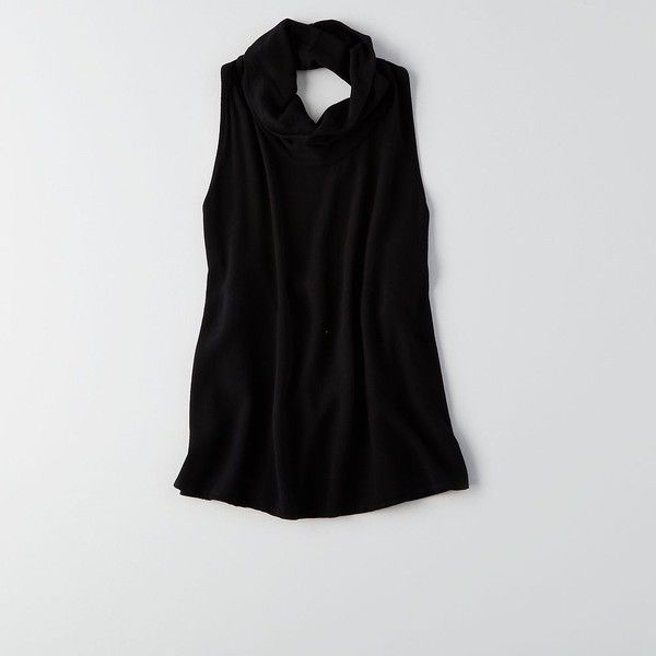 Don't Ask Why Open-Back Cowl Tank (£30) ❤ liked on Polyvore featuring tops, black, cowl tank, american eagle outfitters, open back tank, viscose tops and relaxed fit tank top