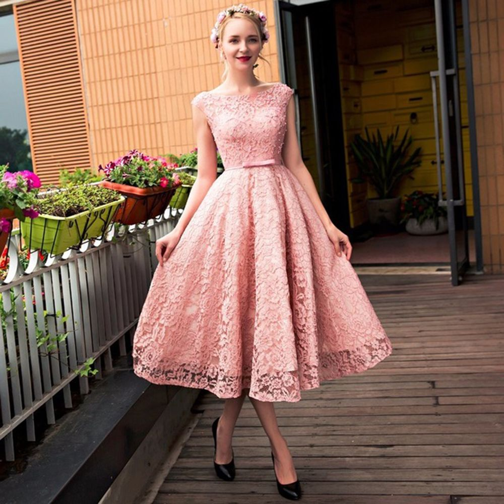 Pretty Short Pink Lace Homecoming Dresses Beaded Tea Length ...