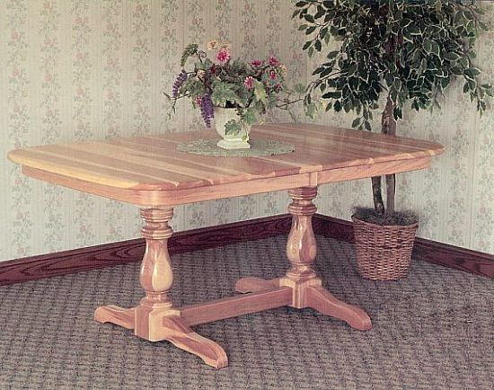 Dutch double pedestal style table-Shown in hickory wood.