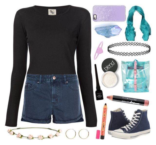 """Be colourful"" by crazydirectionergirl ❤ liked on Polyvore featuring Accessorize, Converse, 321, New Look, H&M, Maybelline, CO, Blend Minerals, Casetify and MCFF"