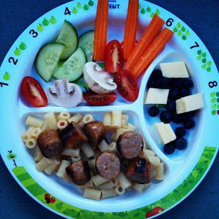 Easy Toddler Food - Dinner was Chipolata with some cute pasta called Tubetti, Finger Salad and Fruit & Cheese on the side