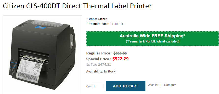 Get 12 OFF on Citizen CLS400DT Direct Thermal Label