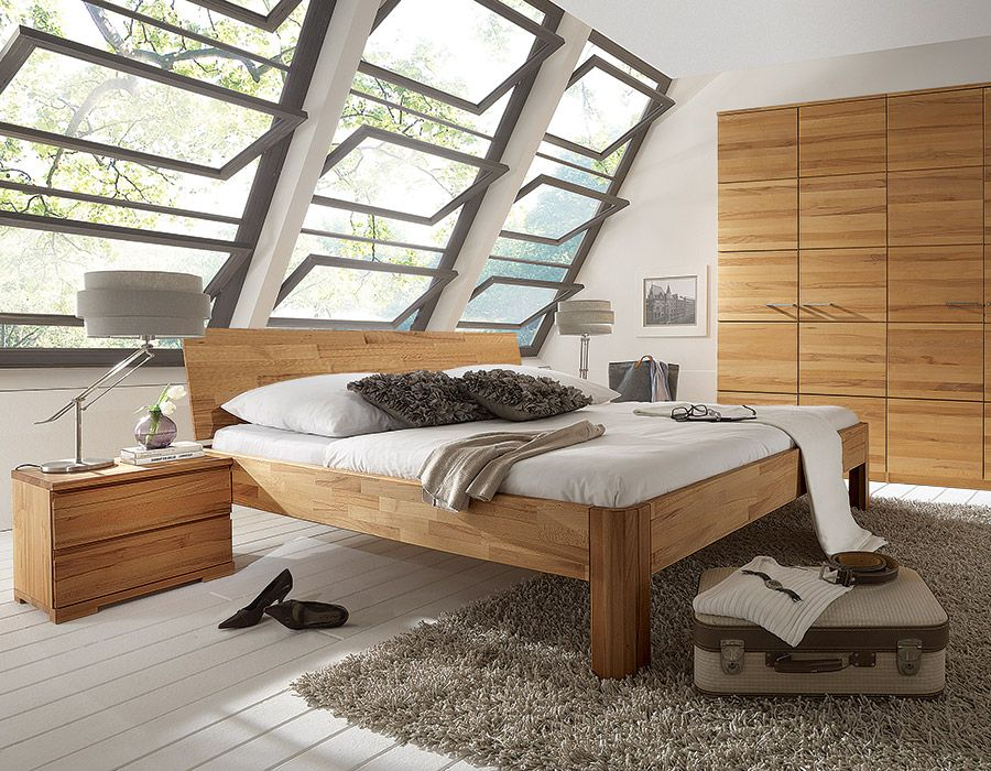 "Massivholzbett ""Svariata"" Wohnzimmer bodenbelag, Haus, Bett"