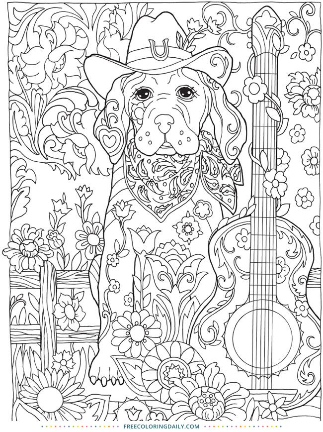 Free Dog And Guitar Coloring Pages For Adults Kids Rhpinterest: Guitar Mandala Coloring Pages At Baymontmadison.com