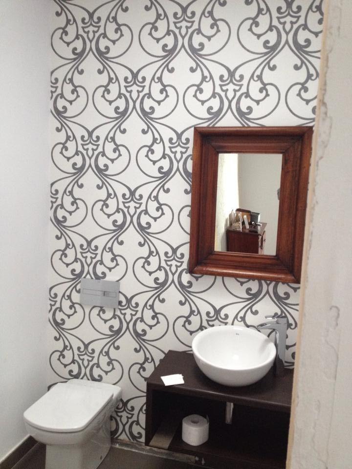 Papel pintado vin lico casa pinterest azulejos - Reformar bano pequeno ...