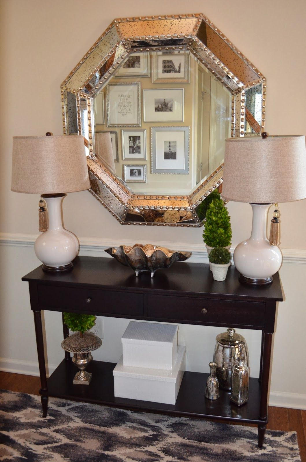foyer decor with entryway console table and large silver mirror ...