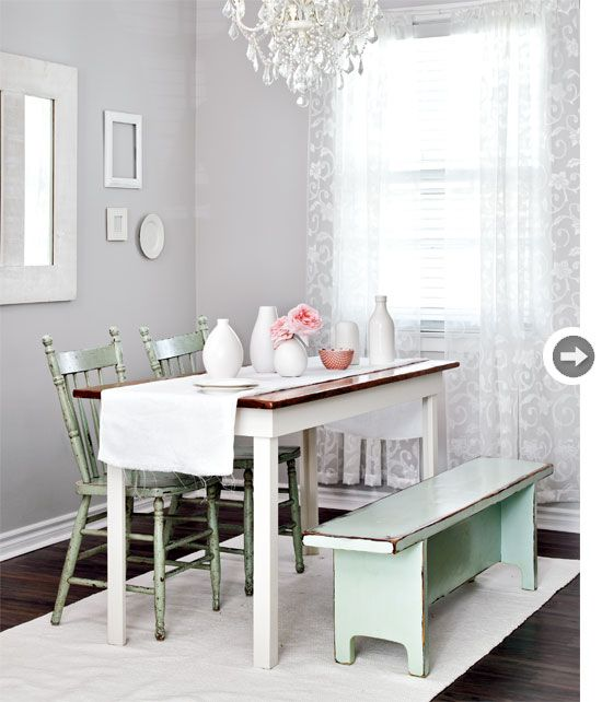 Dreamy Dining Room Soft Grey Walls Warm Up The White Says Tara