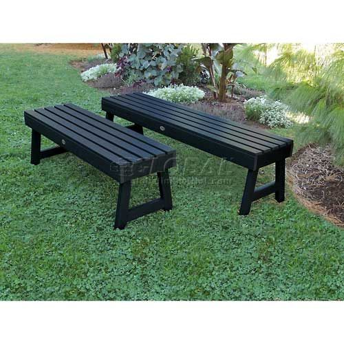 Highwood 4 Weatherly Backless Outdoor Bench Eco Friendly Synthetic Wood In Black Outdoor Backless Bench Outdoor Bench Garden Bench