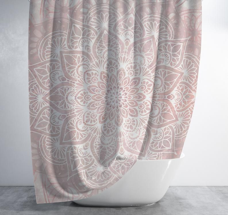 Boho Shower Curtain With A Pink And White Mandala Design