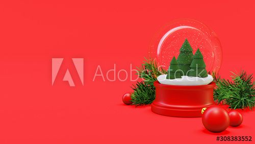 Christmas Snowglobe with Trees and Balls , #Aff, #Snowglobe, #Christmas, #Balls, #Trees #Ad