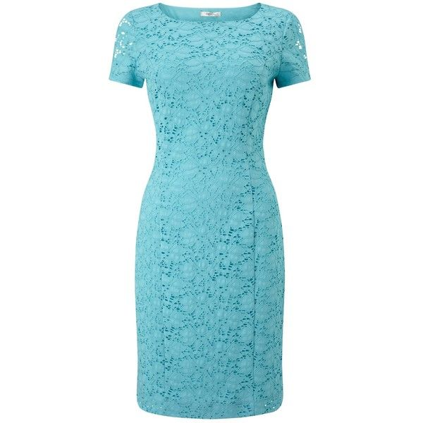 Precis Petite Jasmin Lace Dress , Light Blue (265 RON) ❤ liked on Polyvore  featuring dresses, light blue, petite, petite evening dresses, floral ma…