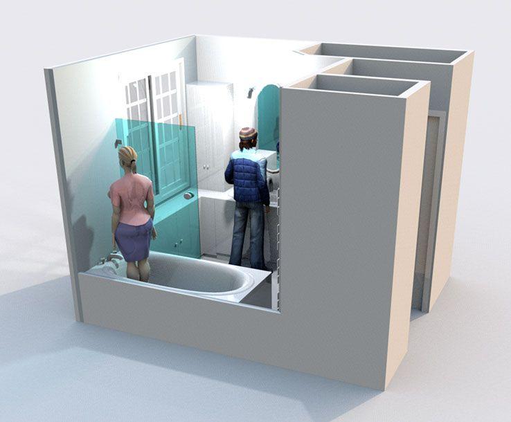 Aménagement du0027une salle de bain et de toilettes - Perspective - Logiciel De Maison 3d