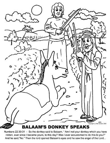 Balaam S Donkey Speaks Sunday School Coloring Pages Bible
