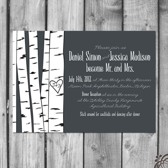 Birch Tree Wedding Invitations Birch Tree Wedding Invitation Set