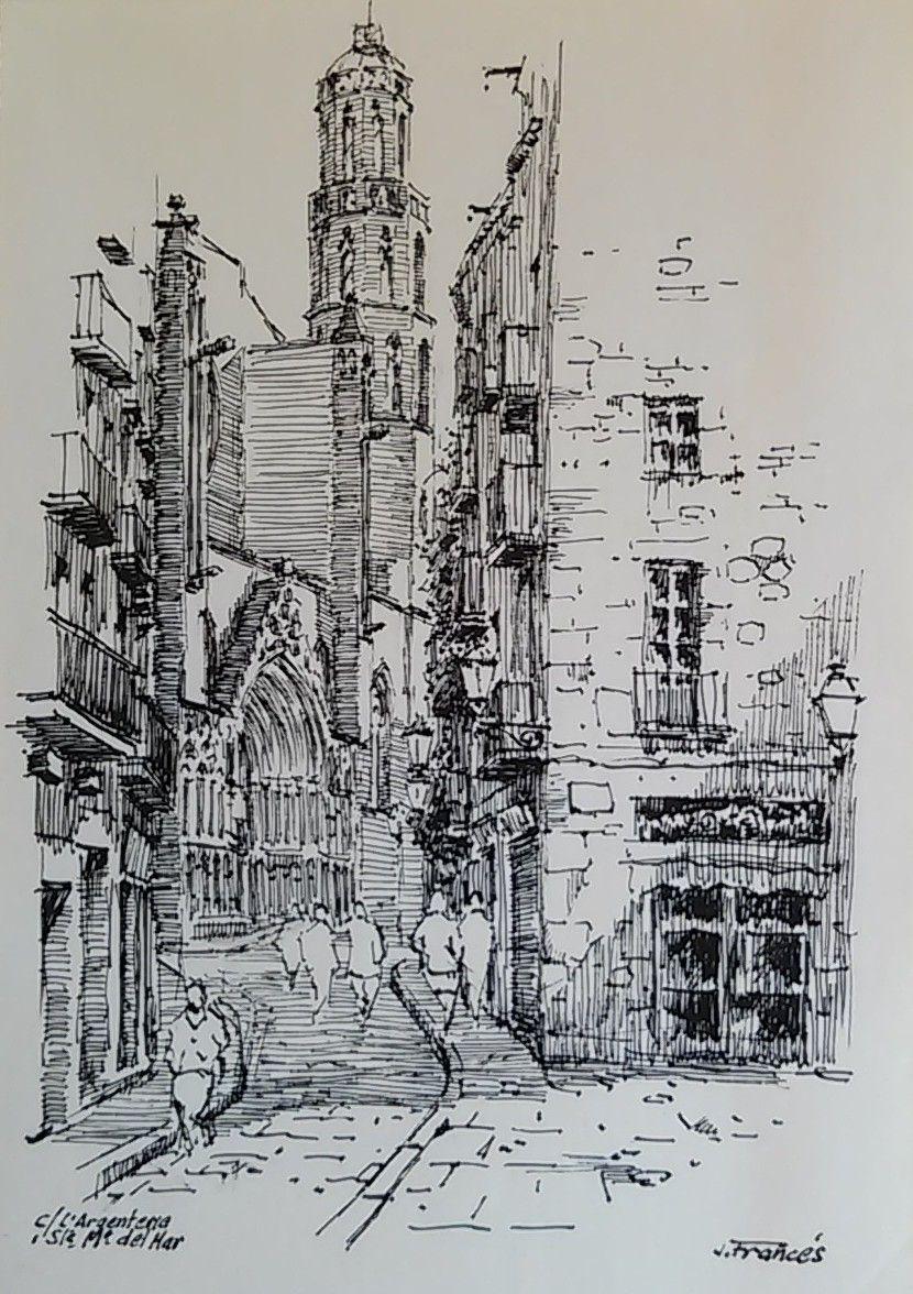 carrer Argenteria, Santa Maria del Mar. Barcelona, Joaquim Francés -india ink | tinta china-
