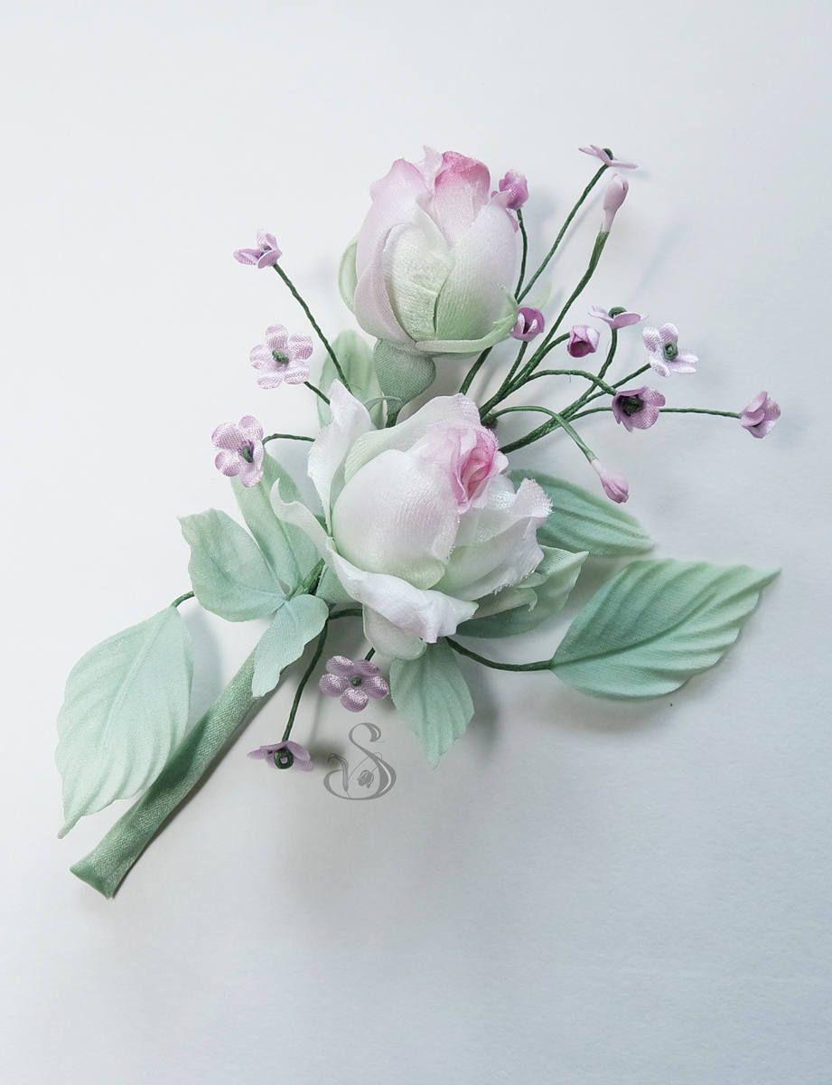 Bridal Wedding Rose Corsage Bridesmaid Handmade Fabric Lapel Flower