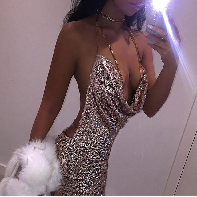 ecd5f60f Kendall Jenner 21st Birthday Outfits Sexy Halter Sequined Party Dresses  2017 Summer Dress Backless Sequins Split