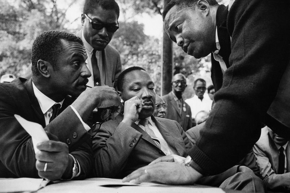 Rev Fred Shuttlesworth Bernard Lee Rev Martin Luther King Jr And Hosea Williams During A