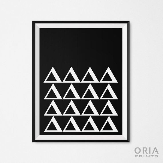 Geometric posters printable wall art black and white by oriaprints