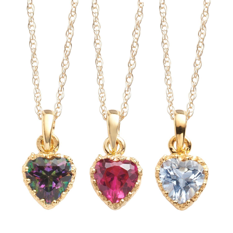 14k Gold Over Silver Gemstone Heart Crown Pendants Heart