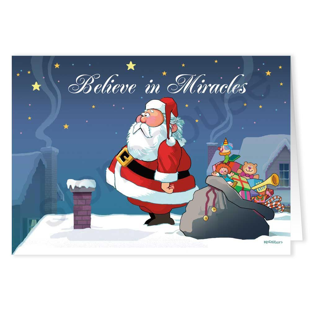 Believe In Miracles Funny Christmas Card Santa Pinterest