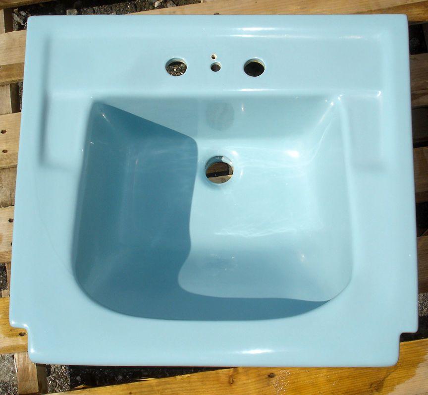 Vintage 1961 Regency Blue American Standard Bathroom Sink Apron