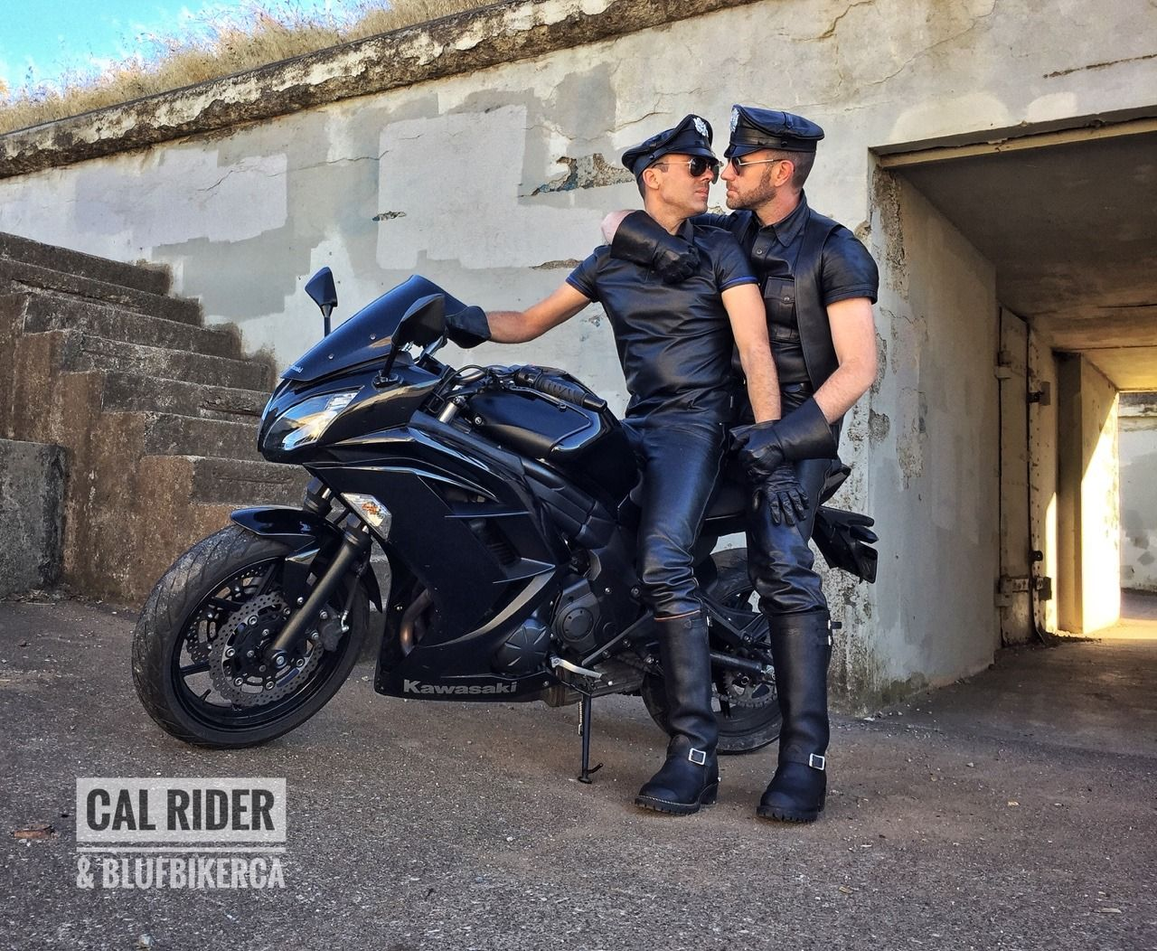 Cal Rider Photo Mens Leather Pants Biker Leather