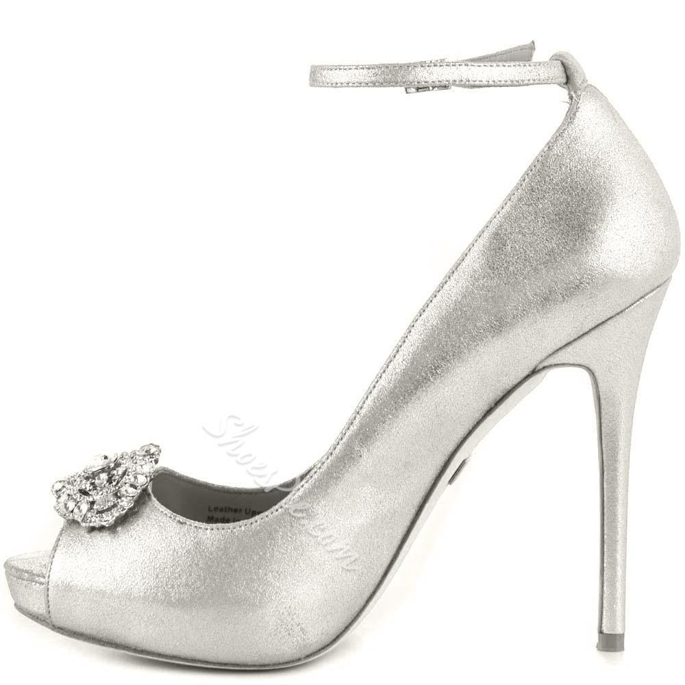 f518e2968 Shoespie - Shoespie Shoespie Sliver Rhinestone Peep Toe Ankle Wrap Stiletto  Heels - AdoreWe.com