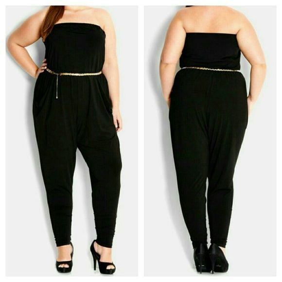 031b0658fb2 City chic jumpsuit black plus size 16w 1x XL Details  A strapless jumpsuit  with a