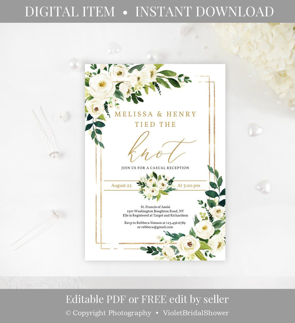 Greenery And Gold Engagement Invitation Template Printable White Flow Indian Wedding Invitation Cards Engagement Invitations Free Printable Wedding Invitations