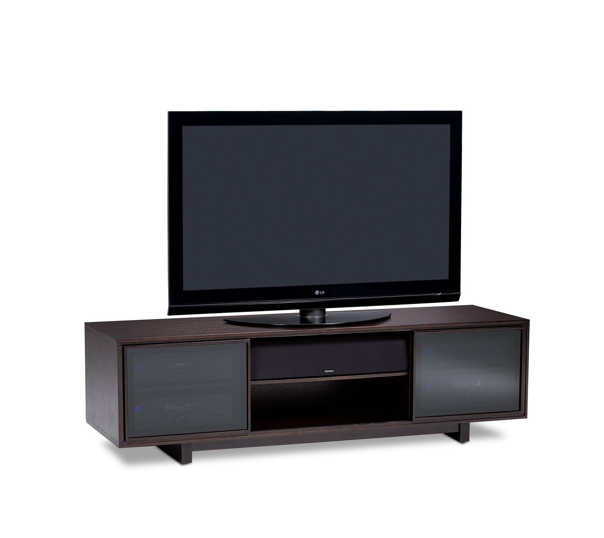 BDI Cirrus 8157 Espresso Stained Oak Low Profile TV Stand For Large Flat Screens