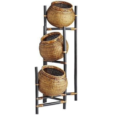Add A Little Natural Interest To Any Corner With Our Three Tiered Topsy Turvy Basket Stand Made To Fold Like An Ac Rattan Basket Rattan Toy Storage Solutions