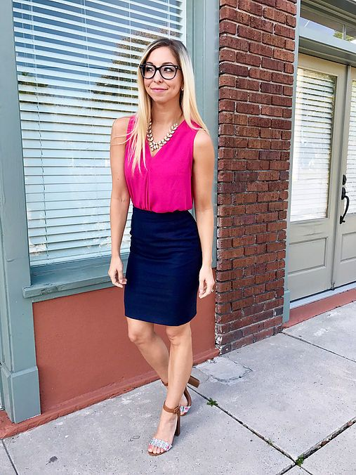 8550c891f8 Pink blouse and pencil skirt with block heels #highheeledhaberdasher