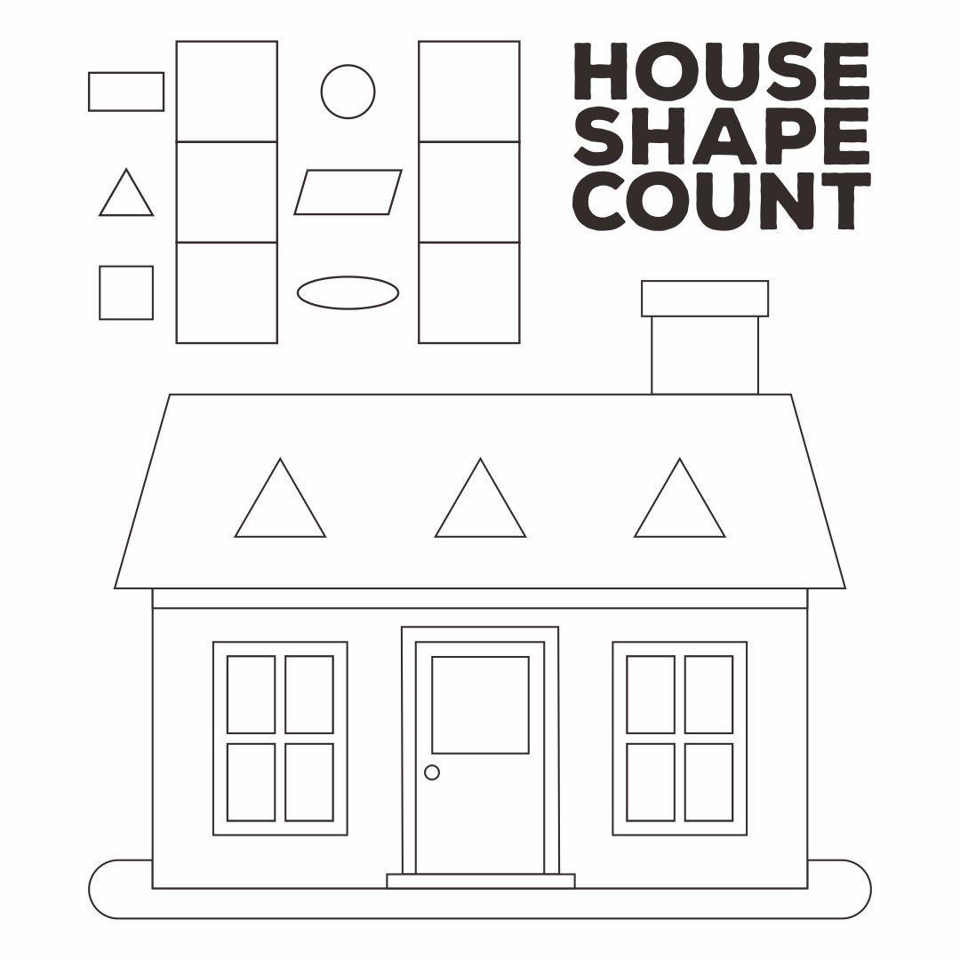 Printable Worksheets Shape Houses In