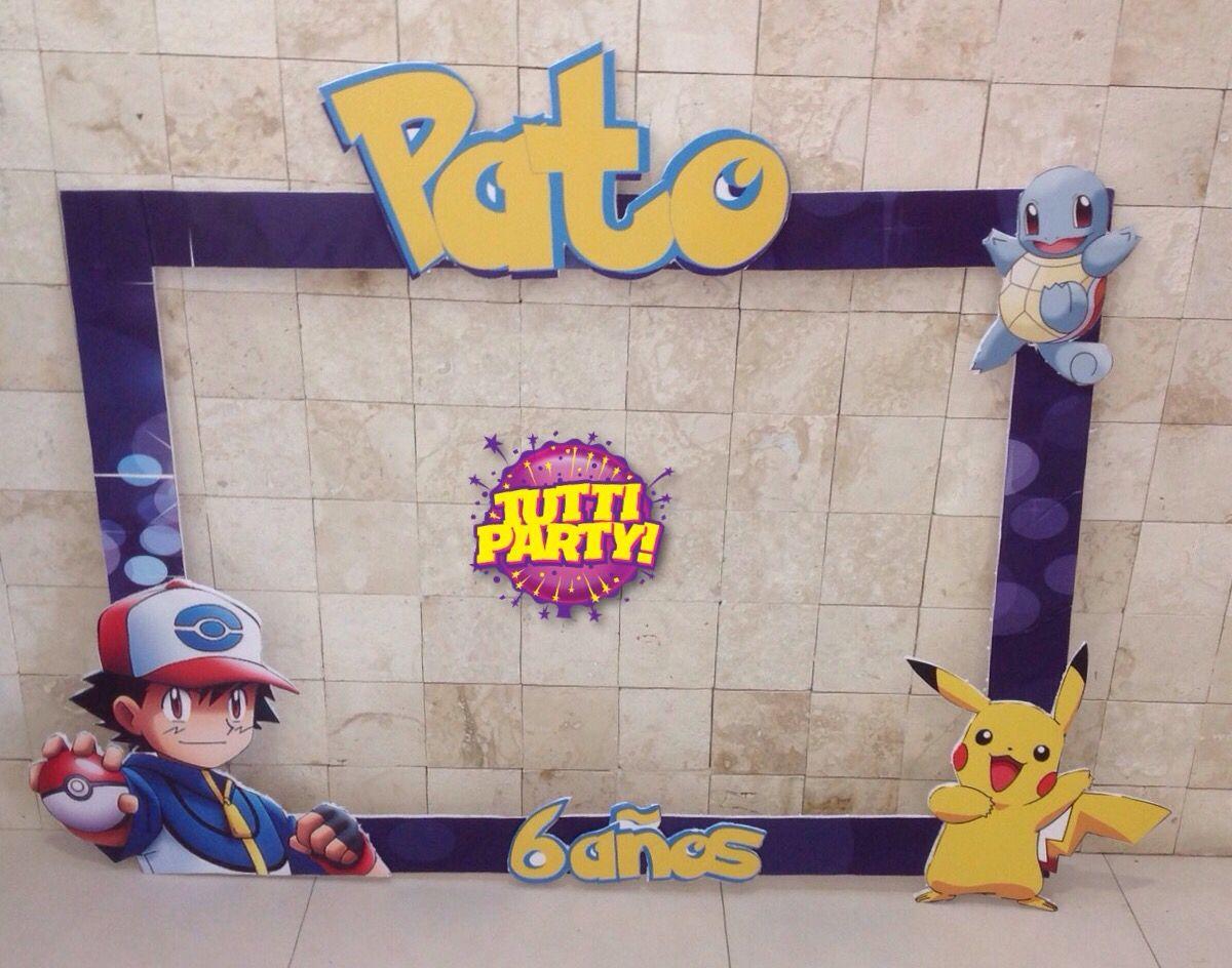Photoshoot frame pokemon party, pikachu pokeball party favor, marcos ...
