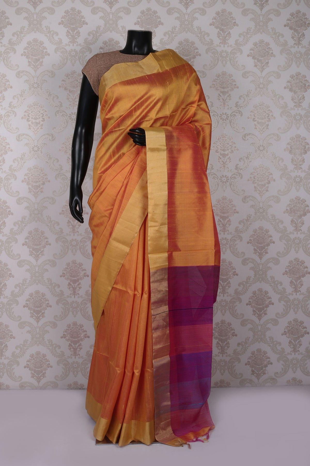 #Peach milk pure silk suave saree with bright #gold border -SR11320
