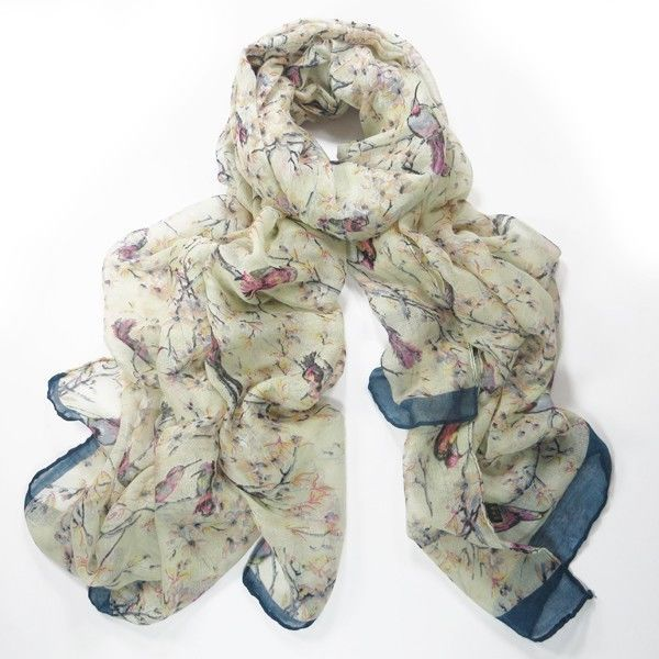 LADIES CREAM BLUE ORIENTAL BIRD BLOSSOM PRINT LARGE SOFT SCARF WRAP COVER UP