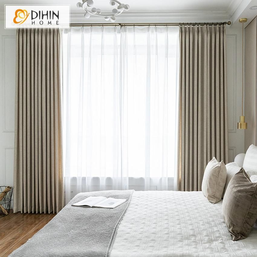 Dihin Home Modern Cotton Linen Blackout Curtains Blackout Grommet