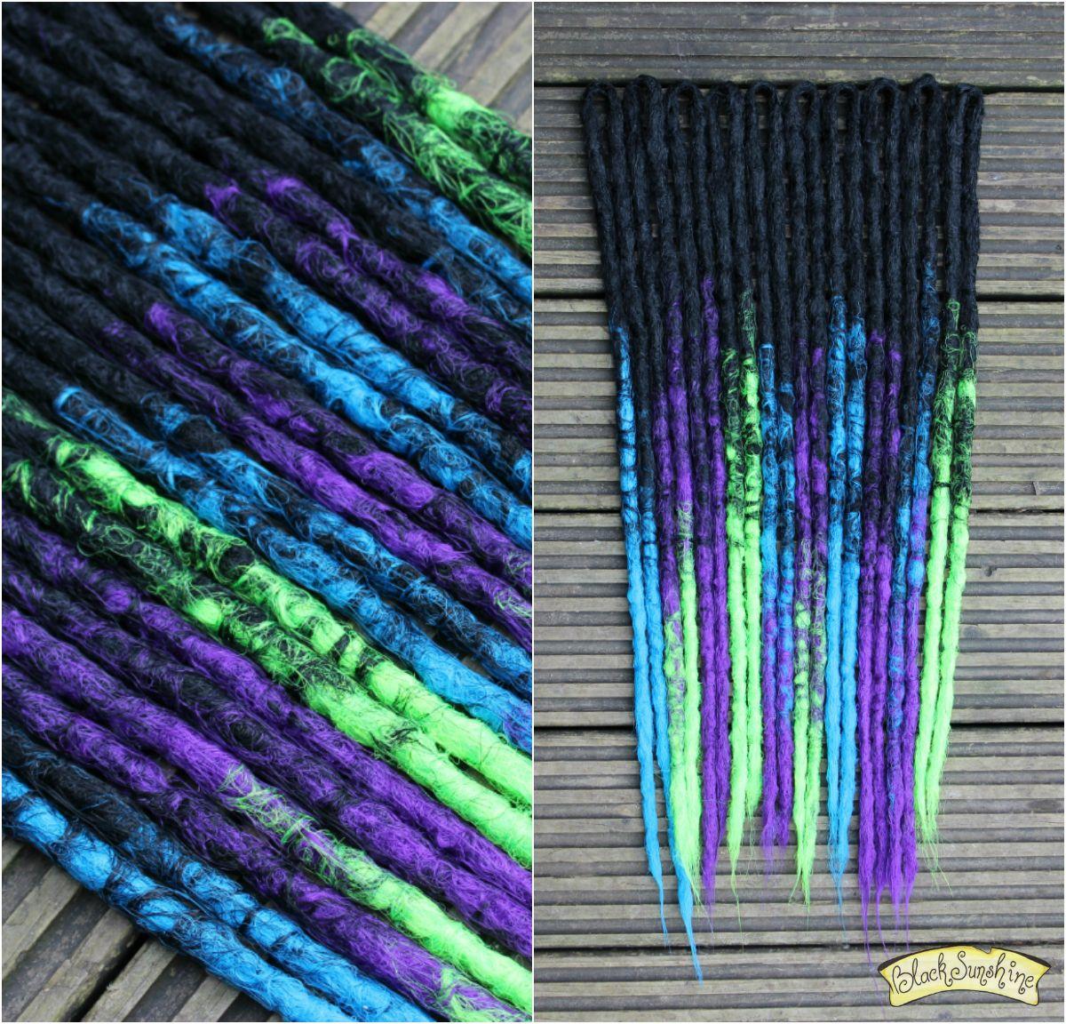 Black Transitional Crochet Synthetic Dreads X10 De Purple Green