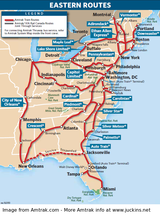 Image result for amtrak east route map in 2019 | Amtrak ...