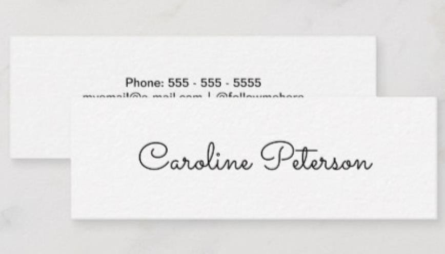Elegant Minimalist White Mini Business Card White Business Cards