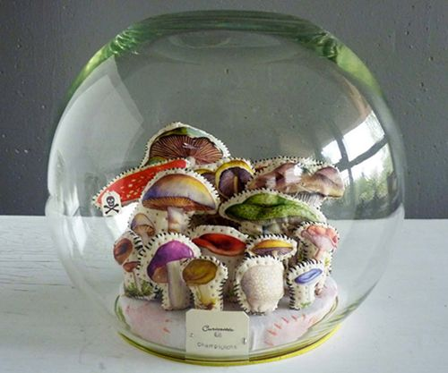 stitched shrooms under glass
